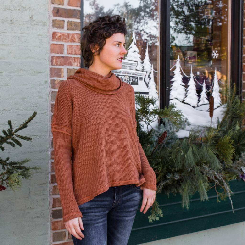 heather heather blanche cowl neck pullover