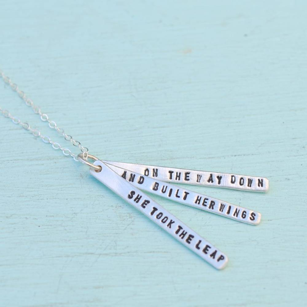 chocolate and steel chocolate and steel silver quote necklace with 3 long bars