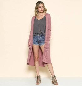 by together by together modal button down maxi cardigan rose
