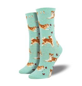 socksmith socksmith shiba inu mint heather