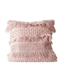 creative co-op creative co-op cotton fringe pillow pale pink