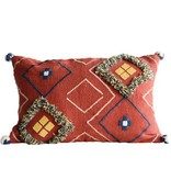 creative co-op creative co-op embroidered pillow w/ pom poms rust