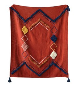creative co-op creative co-op embroidered throw w/ tassels rust