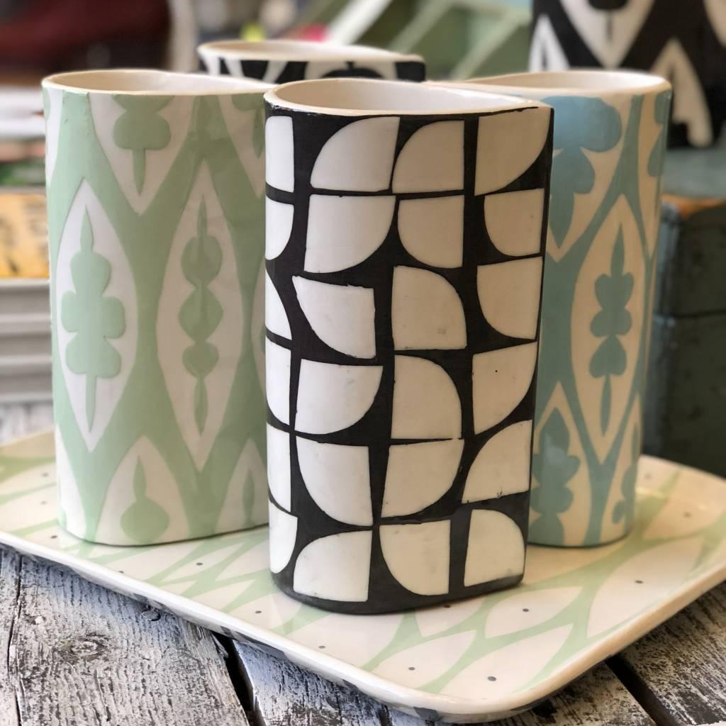 ceramica botanica ceramica botanica black/white curb pattern vase