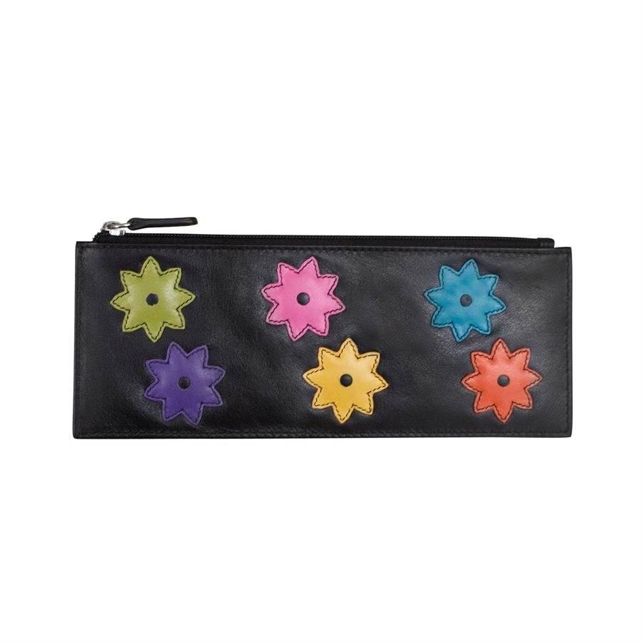 intercontinental leather (IL) ili flower power cc holder w/ zip pocket