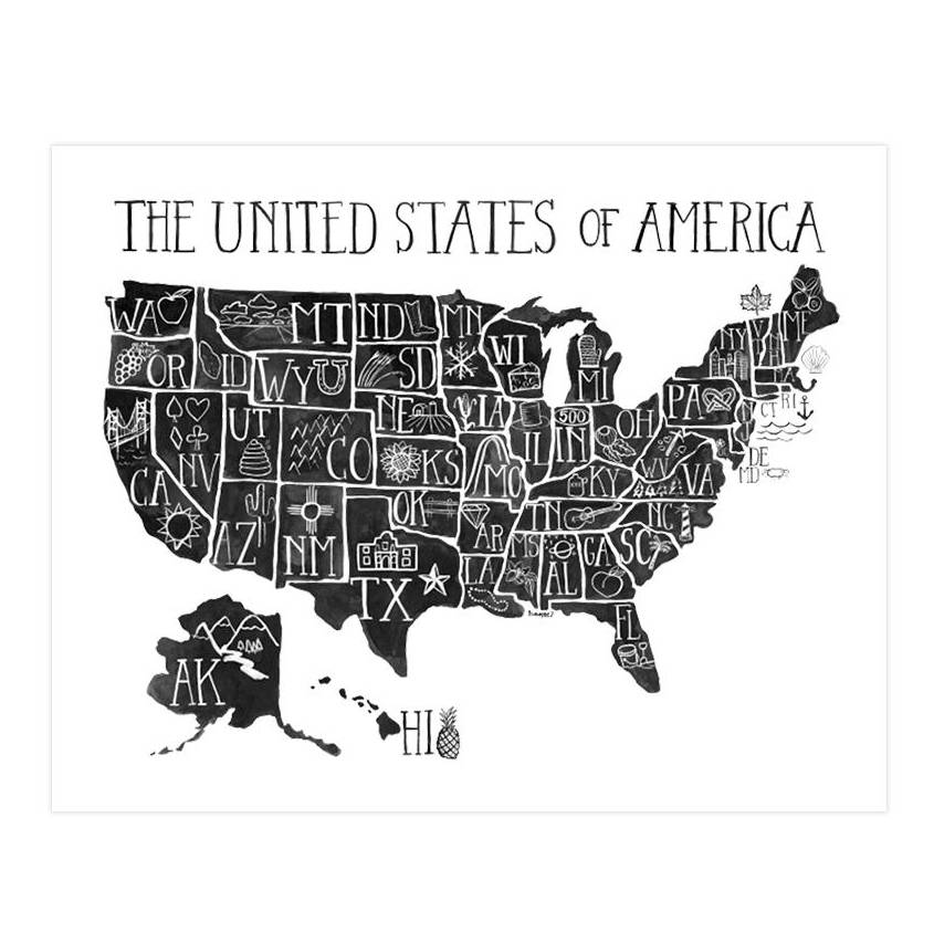 one canoe two usa map black and white art print