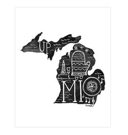 one canoe two michigan black and white art print