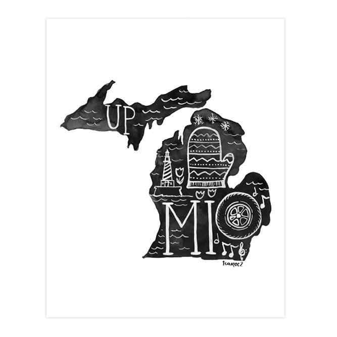 one canoe two michigan black and white art print