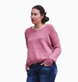 elan elan lace up back sweater salmon