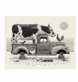 methane studios methane studios cow in truck screenprint 18 x 24