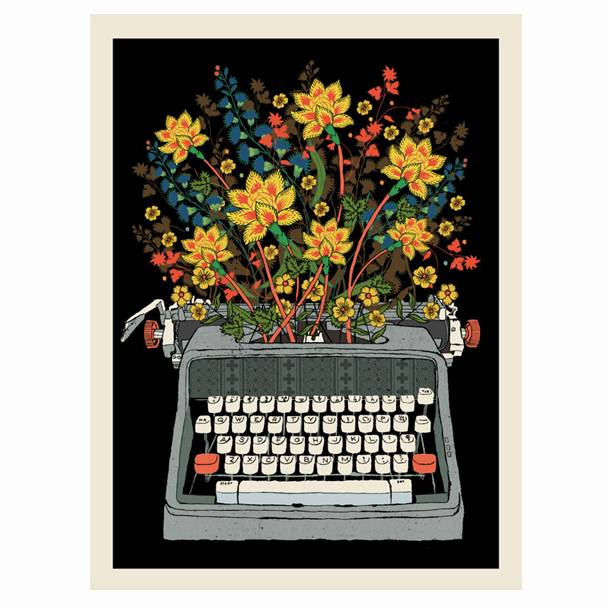 methane studios methane studios floral typewriter screenprint 12 x 16