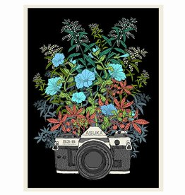 methane studios methane studios floral camera screenprint 12 x 16