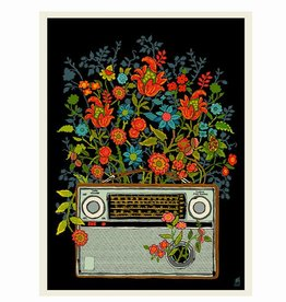 methane studios methane studios floral radio screenprint 12 x 16
