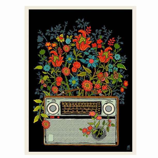 methane studios methane studios floral radio screenprint 12 x 16
