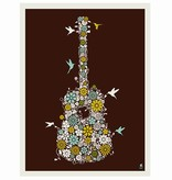 methane studios methane studios flower guitar screenprint 11 x 14