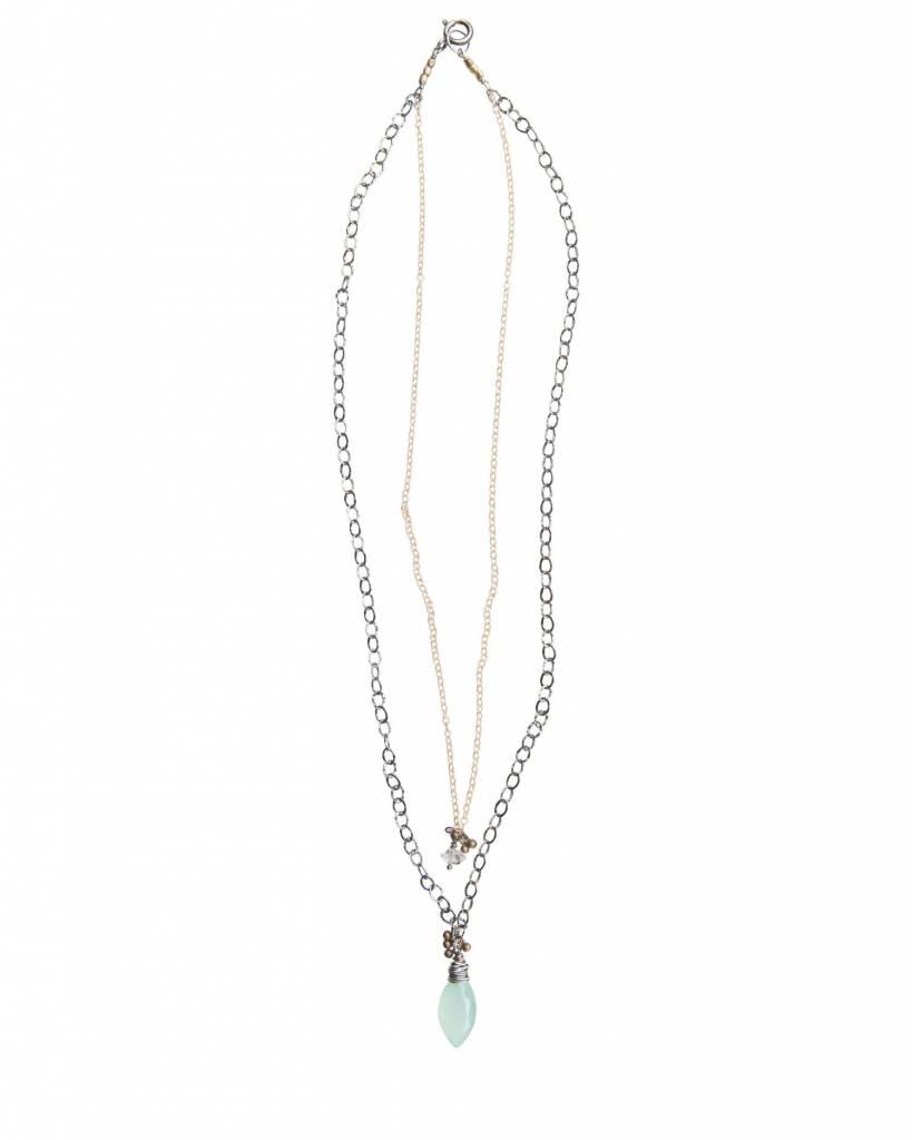 original hardware original hardware double strand aqua necklace