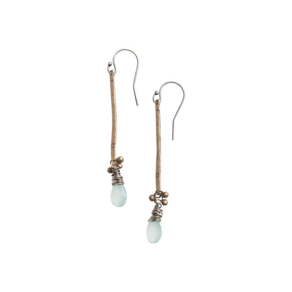 original hardware original hardware aqua chalcedony stick earrings