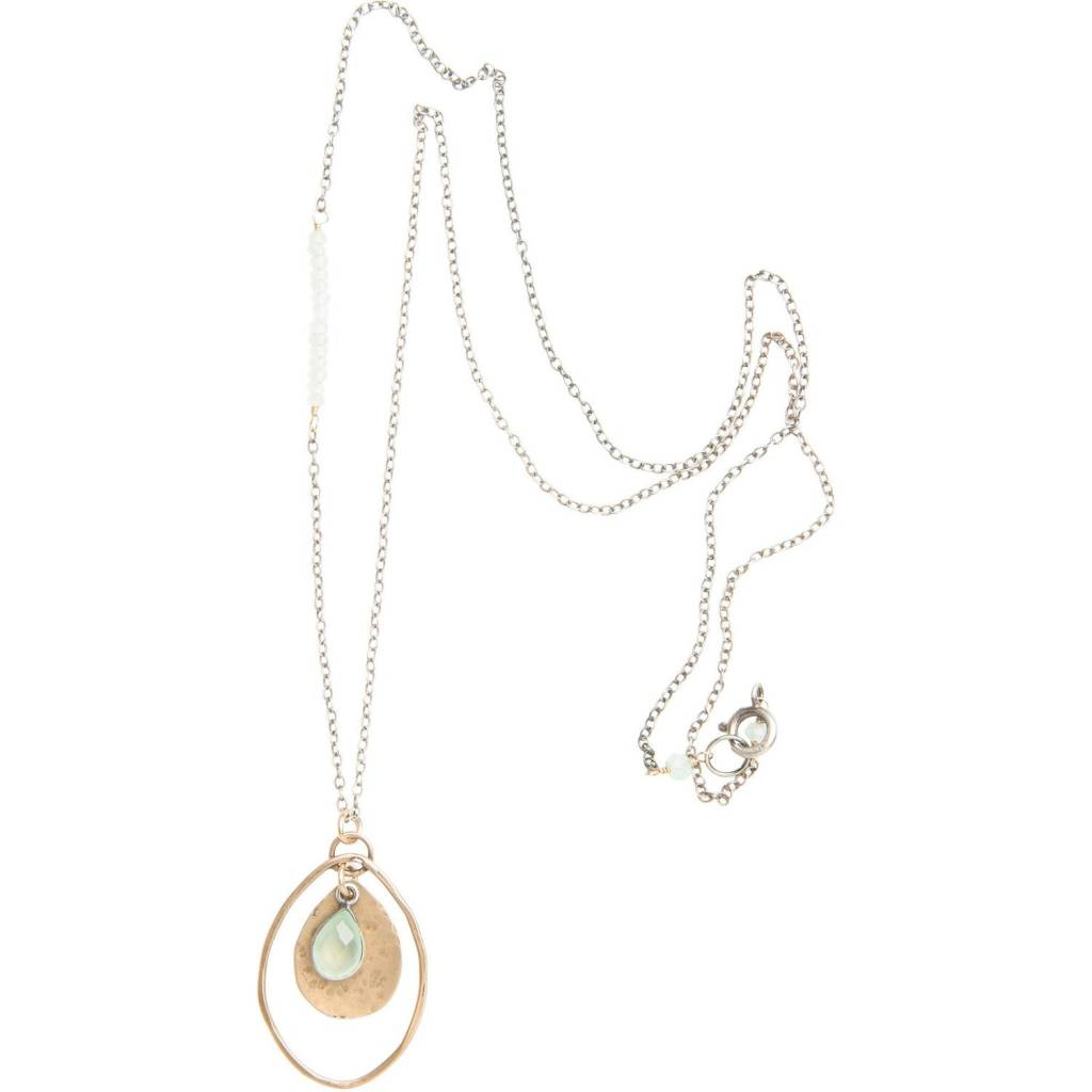 original hardware original hardware long chalcedony mixed metals necklace