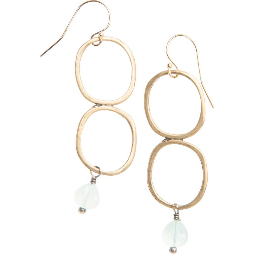 original hardware double yellow bronze drop earrings w/ chalcedony