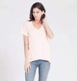 wilt wilt shruken v-neck s/s mock hem pretty pink
