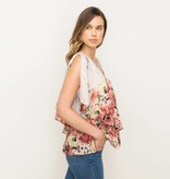 mystree mystree dbl layer floral print blouse taupe/peach