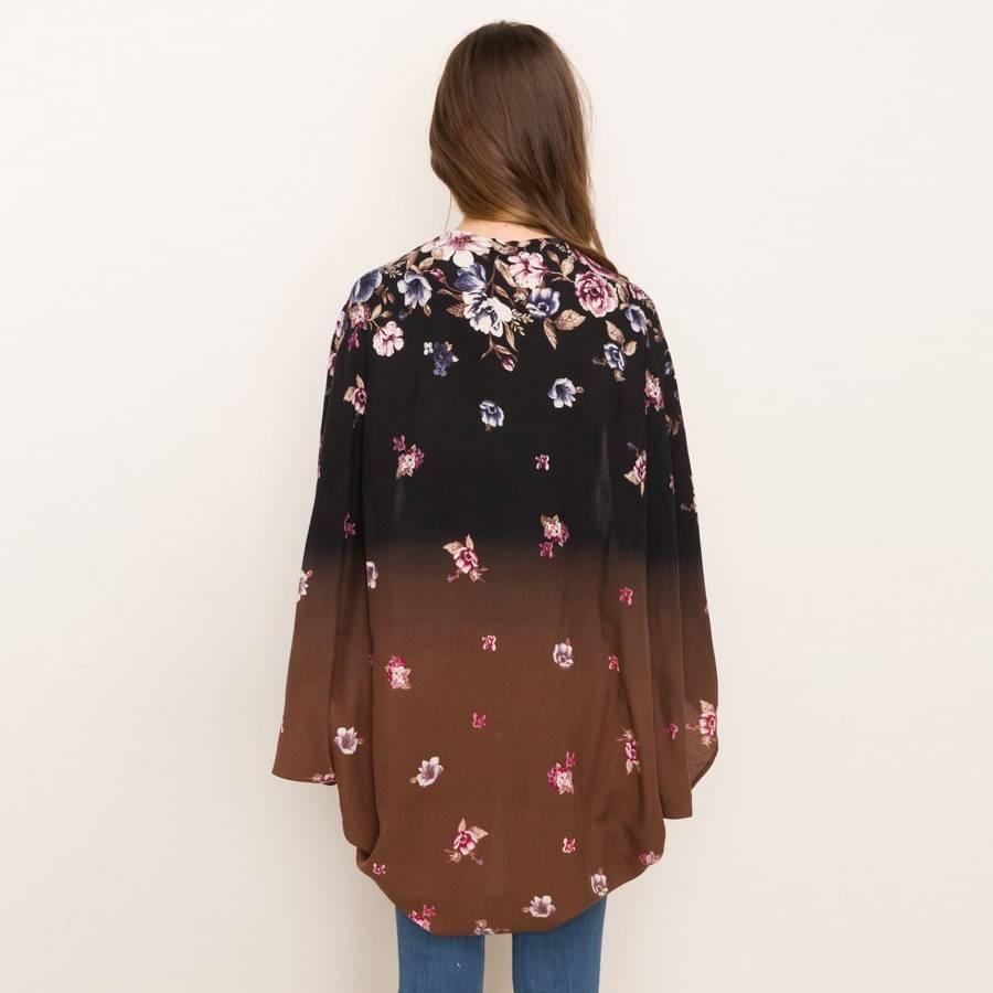 mystree mystree bleach border printed kimono