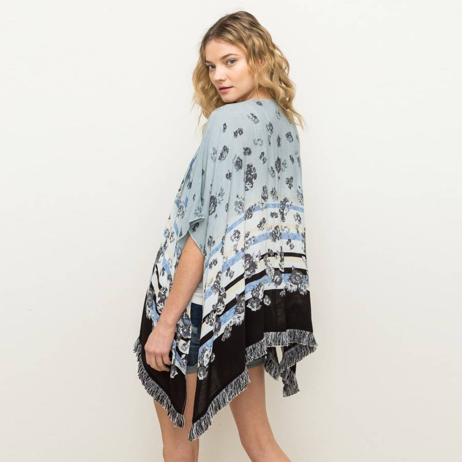 mystree mystree fringe bottom border print kimono blue