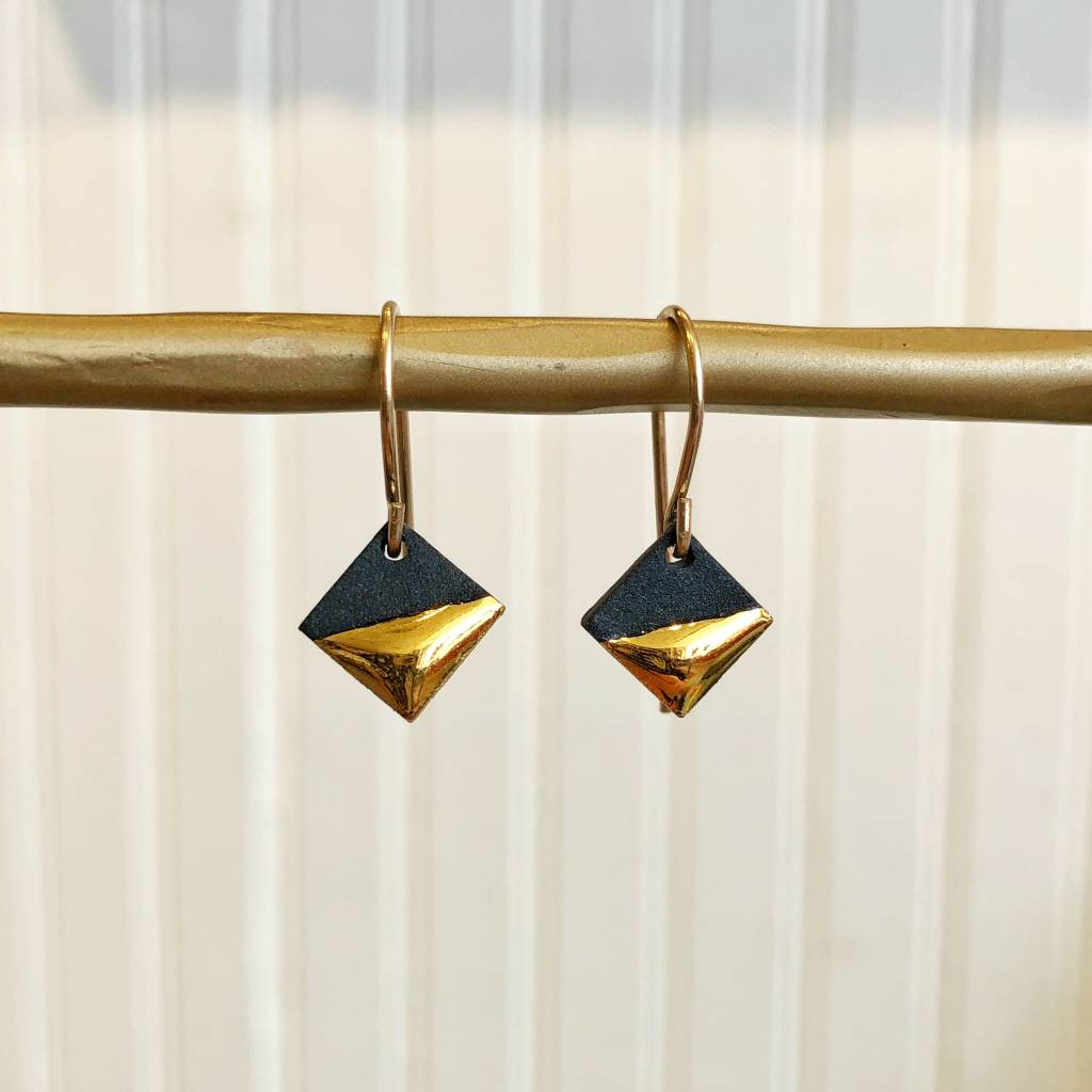 mier luo mier luo gold dipped square earrings