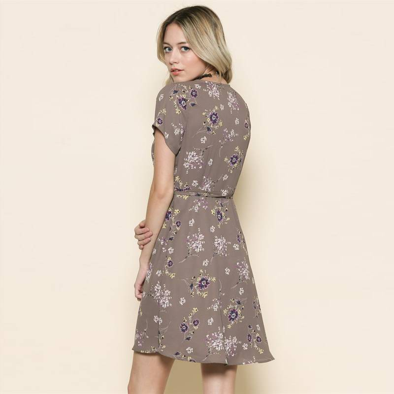 by together by together floral print wrap dress grey