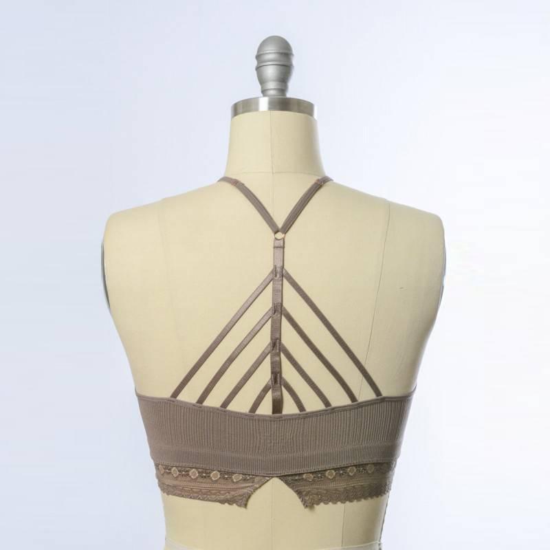 leto leto high neck crochet lace trim brami