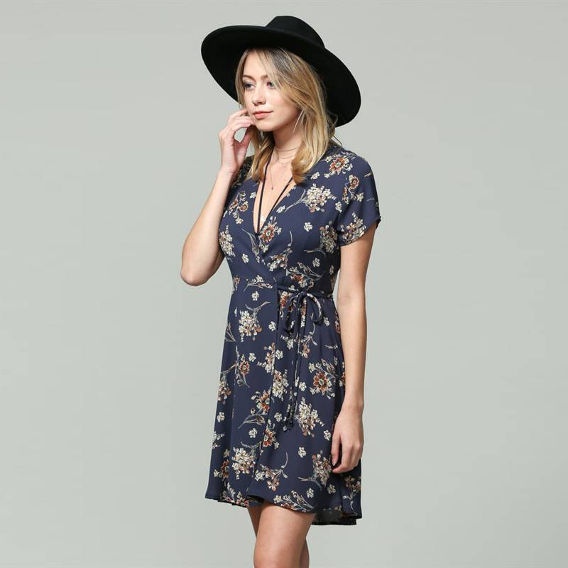 by together by together floral print wrap dress navy