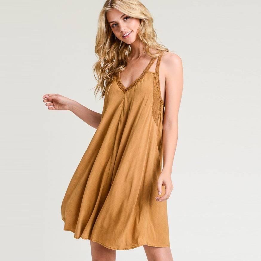 hem & thread hem & thread v neck lace inset washed dress caramel