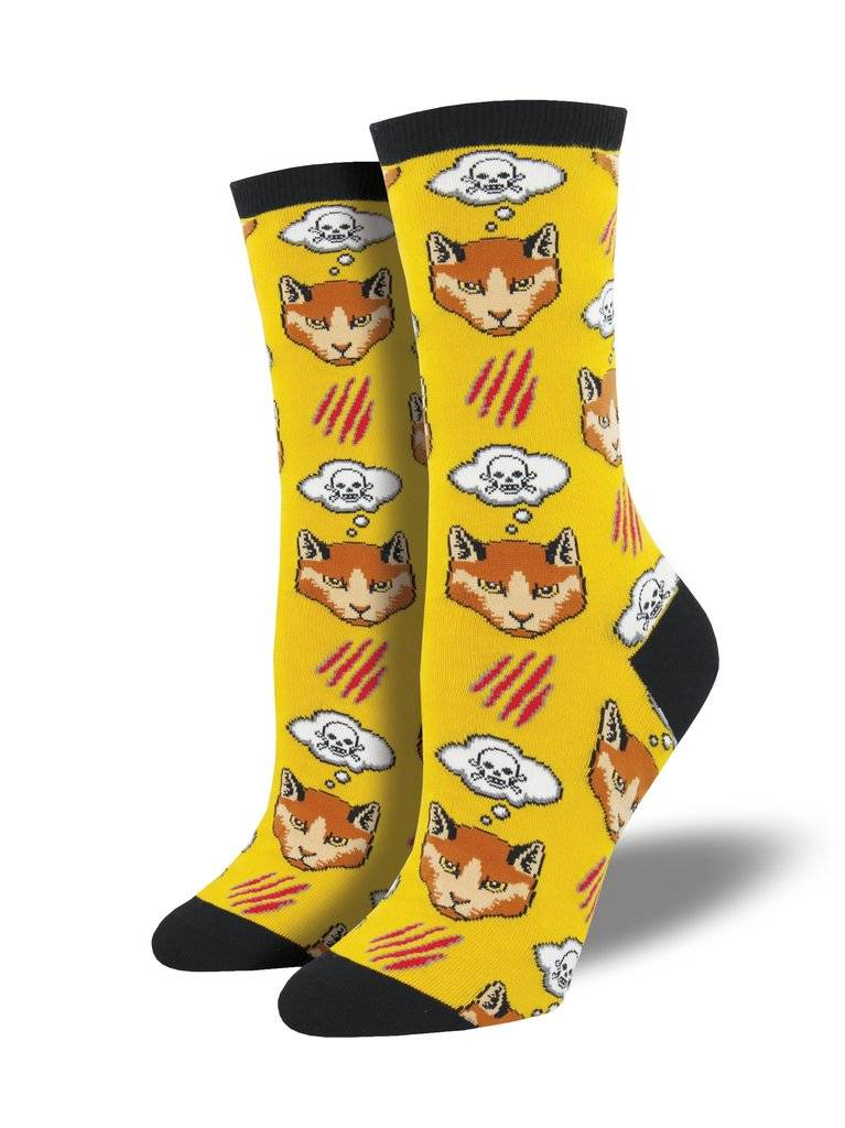 socksmith socksmith moody cat yellow