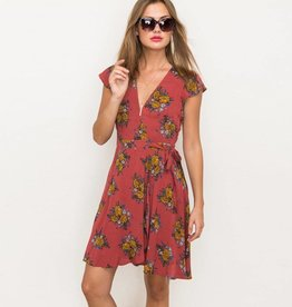 hem & thread hem & thread printed wrap dress coral