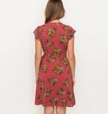 hem & thread hem & thread printed wrap dress coral