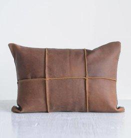 """creative co-op creative co-op 20"""" x 14"""" leather & felt pillow"""