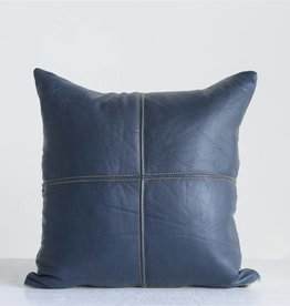 "creative co-op creative co-op 18"" square leather pillow navy"