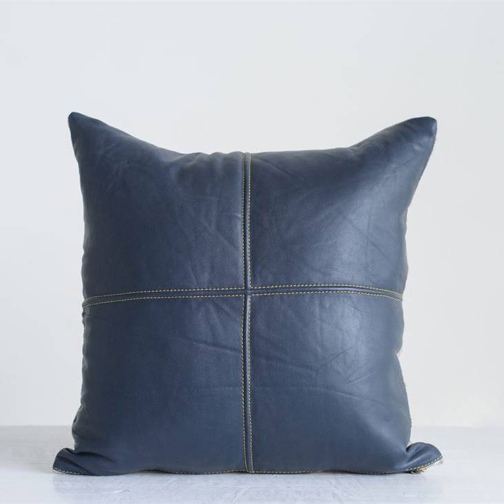"""creative co-op creative co-op 18"""" square leather pillow navy"""