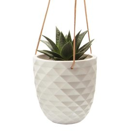 chive chive thimble hanging planter white
