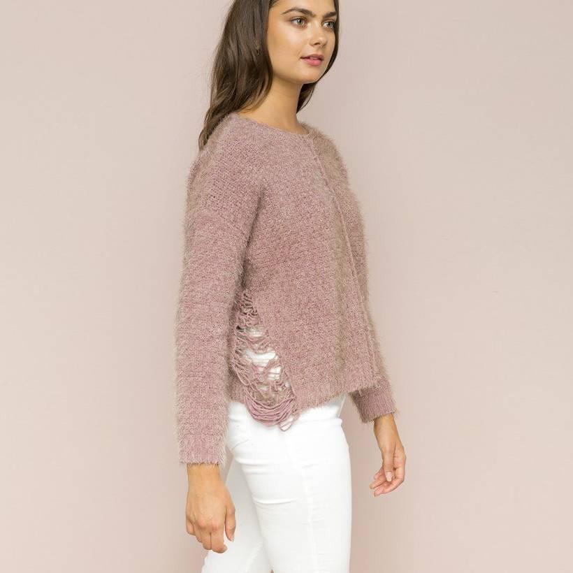hem & thread hem & thread side fringe detail sweater mauve
