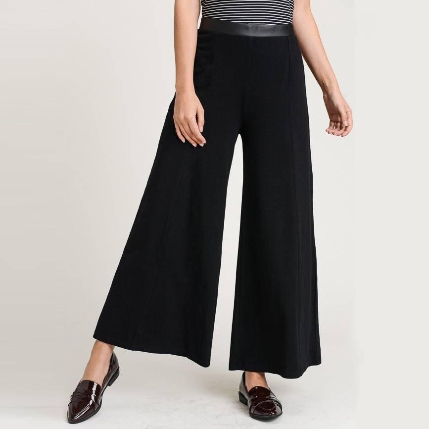 hem & thread hem & thread faux leather waistband wide crop pant black