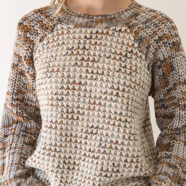 mystree mystree mix thread raglan sweater taupe