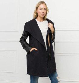 mystree mystree faux leather sleeve maxi jacket black