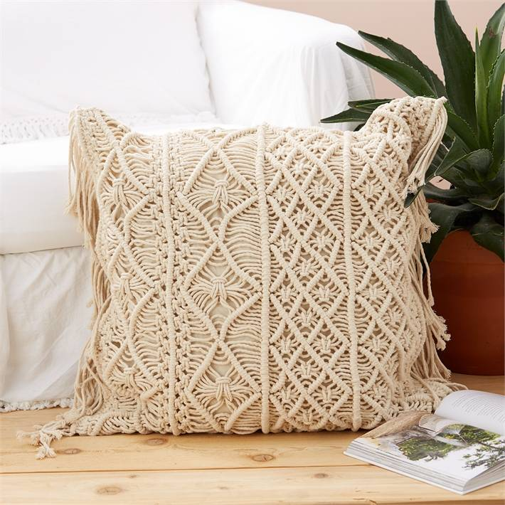 two's company two's co large macrame pillow