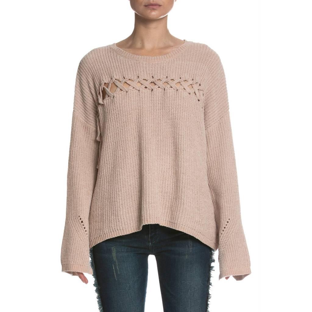 elan elan chenille front lace-up sweater
