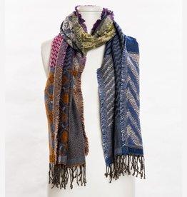 vsa vsa large blue/orange/cranberry geometric scarf