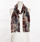 vsa vsa large-leaf and floral patterned scarf