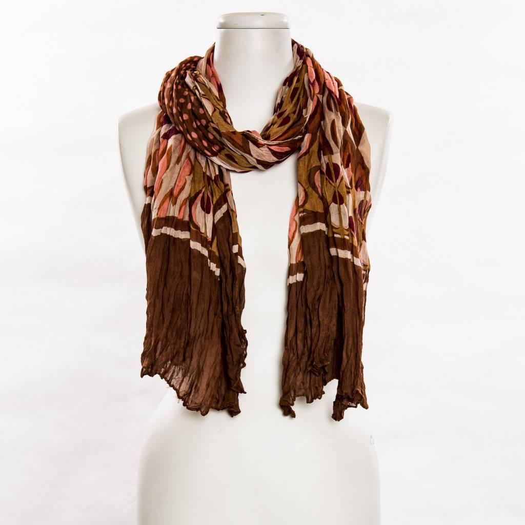 vsa vsa mod 60's-inspired brown print scarf