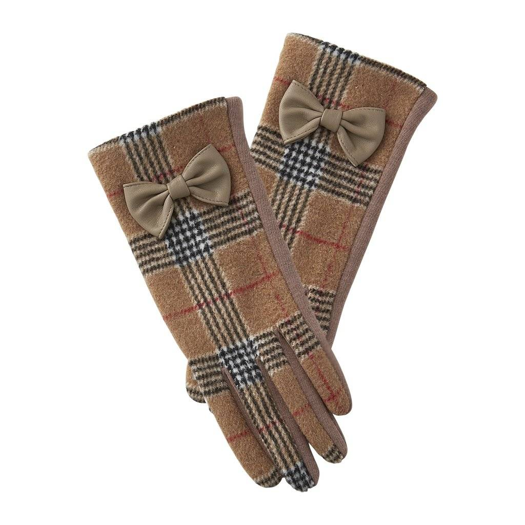 tickled pink tickled pink kennedy plaid bow gloves