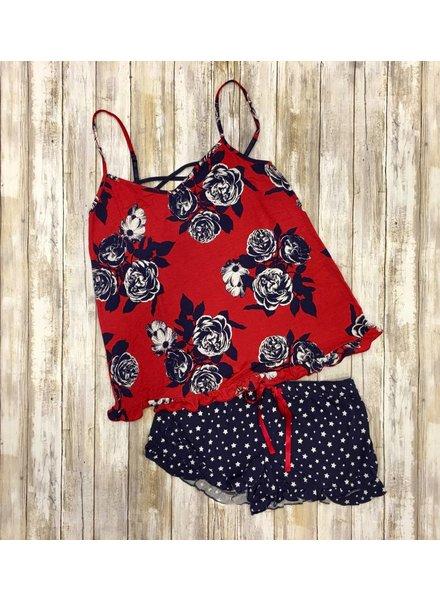 PJ Floral Red/Navy Cami